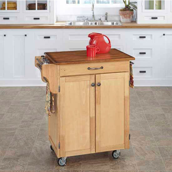 Mix & Match 2 Door w/ Drawer Cuisine Cart Cabinet, Natural Finish with Oak Top by Home Styles