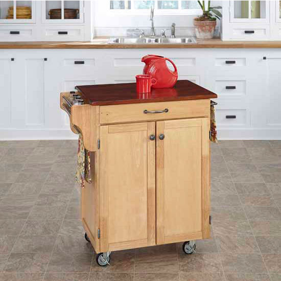 Mix & Match 2 Door w/ Drawer Cuisine Cart Cabinet, Natural Finish with Cherry Top by Home Styles