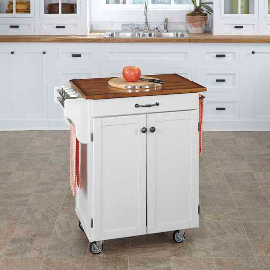 Mix & Match 2 Door w/ Drawer Cuisine Cart Cabinet, White Finish with Oak Top by Home Styles