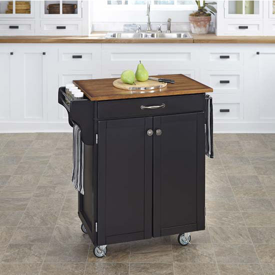 Mix & Match 2 Door w/ Drawer Cuisine Cart Cabinet, Black Finish with Oak Top by Home Styles