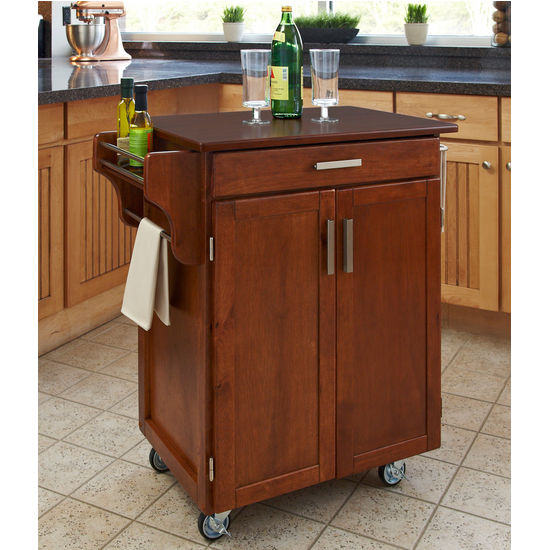 Mix & Match 2 Door w/ Drawer Cuisine Cart Cabinet, Warm Oak Finish with Cherry Top by Home Styles