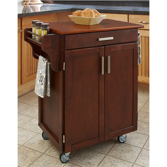 Mix & Match 2 Door w/ Drawer Cuisine Cart Cabinet, Cherry Finish with Oak Top by Home Styles