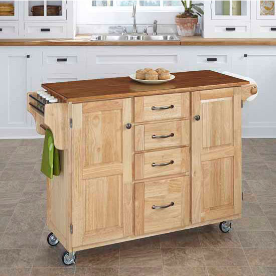 Kitchen Carts - Mix and Match Create-a-Cart Natural Finish with