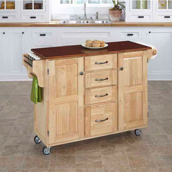 Mix & Match Create-a-Cart Natural Finish with Cherry Top by Home Styles