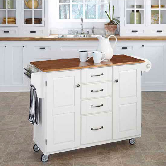 Mix & Match Create-a-Cart White Finish with Oak Top by Home Styles