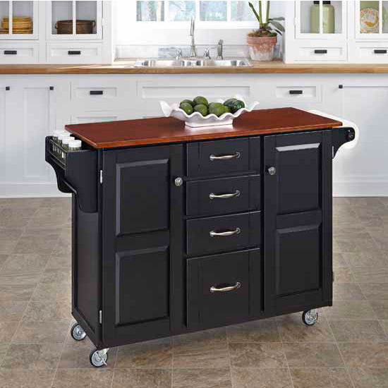 Mix & Match Create-a-Cart Black Finish with Cherry Top by Home Styles