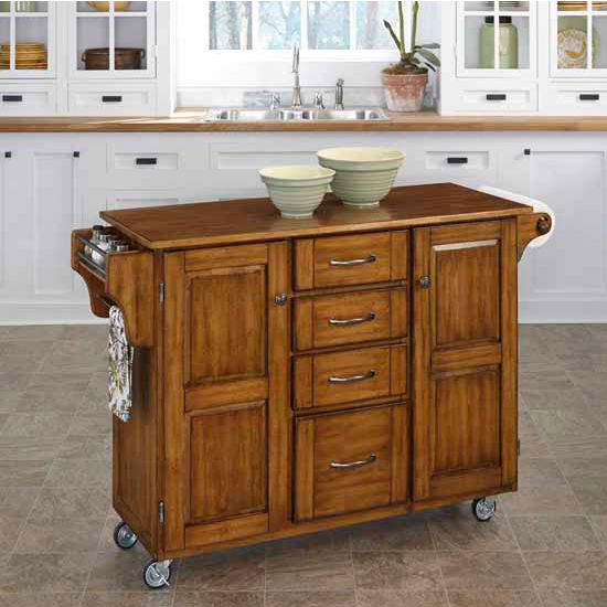 Mix & Match Create-a-Cart Warm Oak Finish with Oak Top by Home Styles
