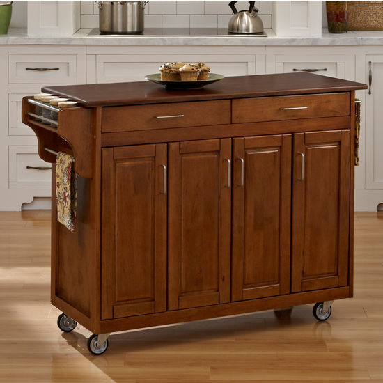 Mix & Match Create-a-Cart Warm Oak Finish with Cherry Top by Home Styles