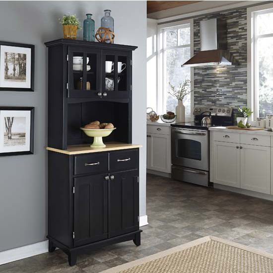 Black Finish Two-Door Hutch Buffet Server with Natural Wood Top