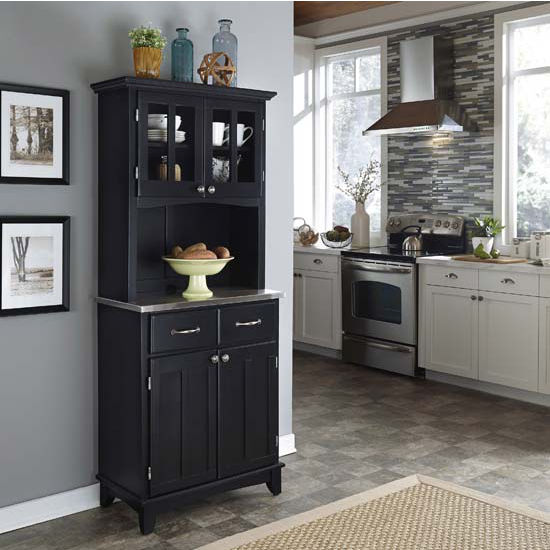 lack Finish Wood Two-Door Hutch Buffet Server with Stainless Steel Top