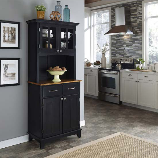 Black Finish Wood Two-Door Hutch Buffet Server with Cottage Oak Top