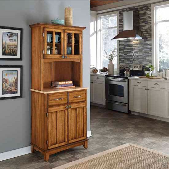 Cottage Oak Finish Wood Two-Door Hutch Buffet Server with Natural Wood Top