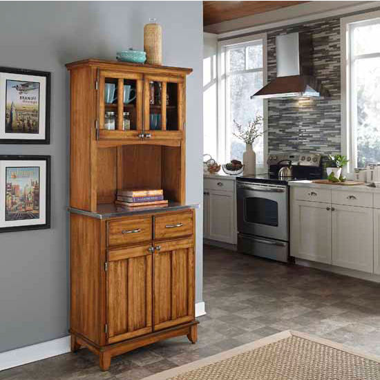 Cottage Oak Finish Wood Two-Door Hutch Buffet Server with Stainless Steel Top