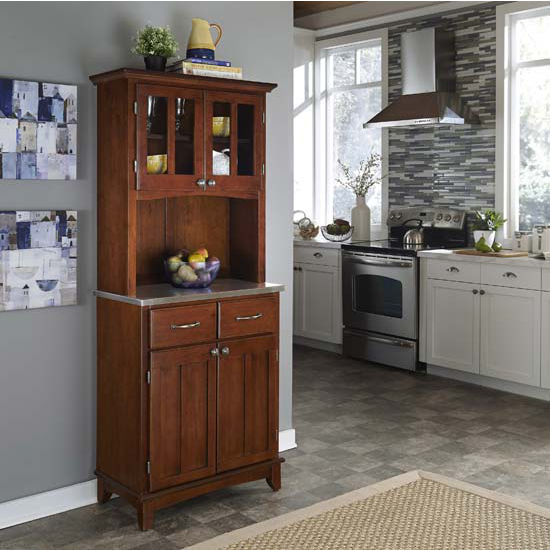 Cherry Finish Wood Two-Door Hutch Buffet Server with Stainless Steel Top