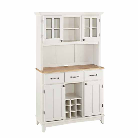 White Finish Wood Two-Door Hutch Buffet Server with Natural Wood Top