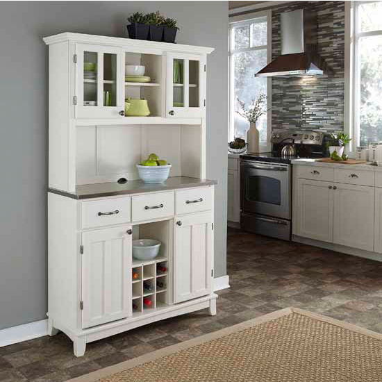 White Finish Wood Large Two-Door Hutch Buffet Server with Stainless Steel Top