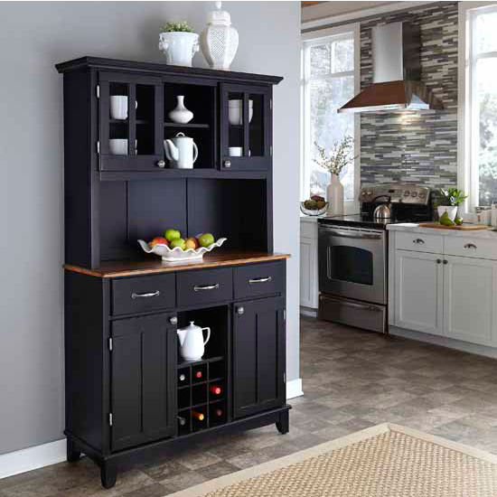 Black Finish Wood Large Two-Door Hutch Buffet Server with Cottage Oak Top
