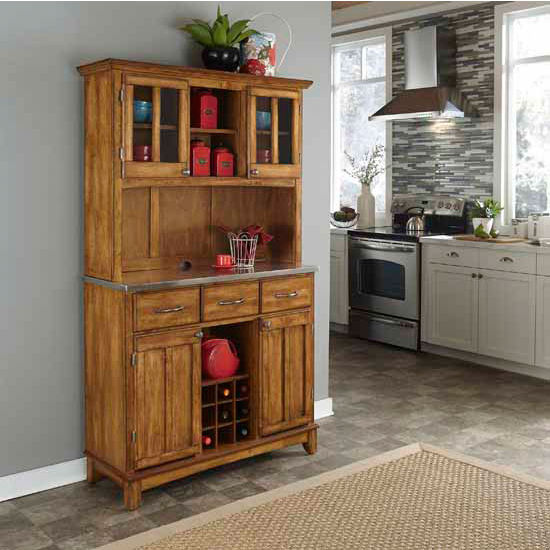 Cottage Oak Finish Wood Large Two-Door Hutch Buffet Server with Stainless Steel Top
