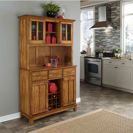 Cottage Oak Finish Wood Two-Door Hutch Buffet Server with Cottage Oak Top