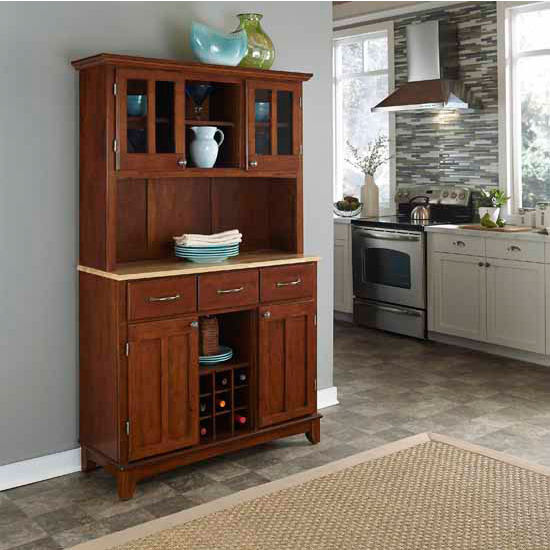 Cherry Finish Wood Large Hutch Buffet Server with Natural Wood Top