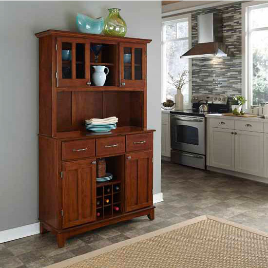Finish Wood Two-Door Hutch Buffet Server with Cherry Wood To