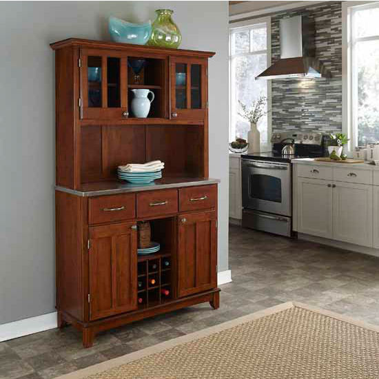 Cherry Finish Wood Large Two-Door Hutch Buffet Server with Stainless Steel Top by Home Styles