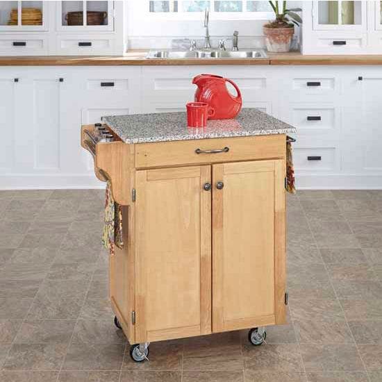 Home Styles Mix and Match Natural Finish Base and Grey Granite Top Cuisine Cart