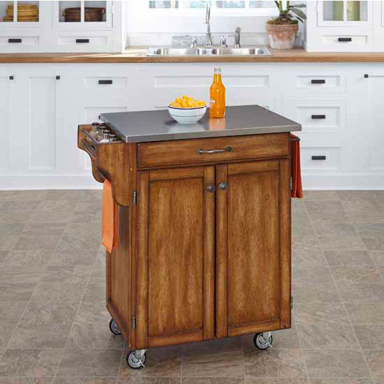 Kitchen Cart With Cabinet: Mix And Match Dark Cottage Oak Stain