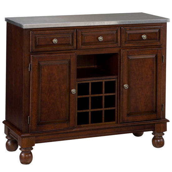 Mix & Match Premium Large Buffet w/ Cherry Finish and Stainless Steel Top by Home Styles