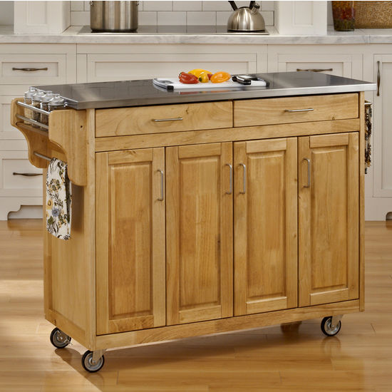 Mix and Match Create-a-Cart w/ Natural Finish and Stainless Steel Top by Home Styles