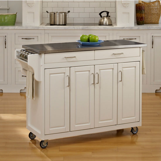 Mix and Match Create-a-Cart w/ White Finish and Stainless Steel Top by Home Styles
