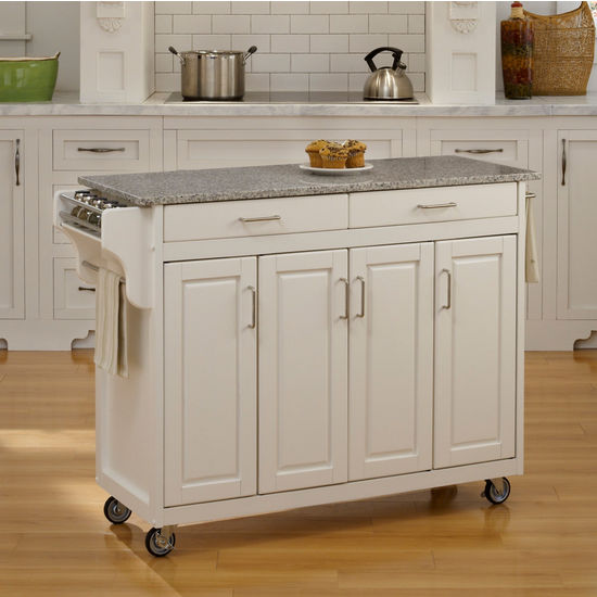 Mix and Match Create-a-Cart w/ White Finish and Salt & Pepper Granite Top by Home Styles