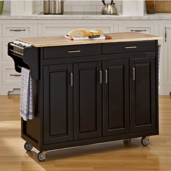 Mix and Match Create-a-Cart w/ Black Finish and Wood Top by Home Styles