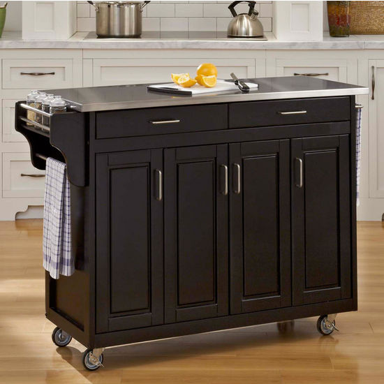 Mix and Match Create-a-Cart w/ Black Finish and Stainless Steel Top by Home Styles