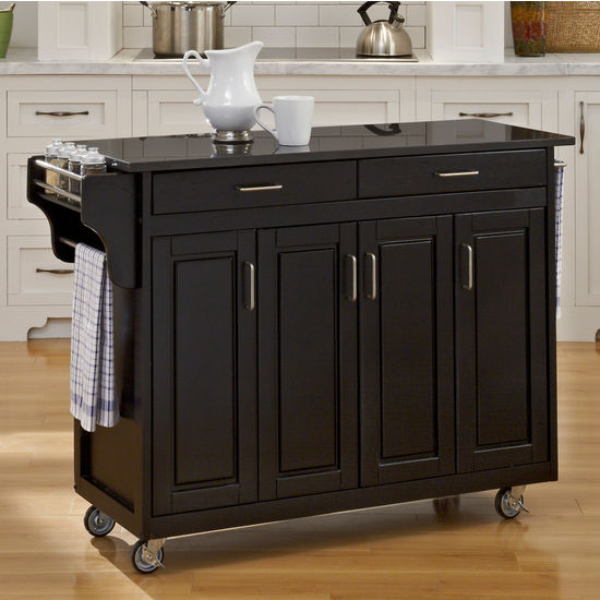 Mix and Match Create-a-Cart w/ Black Finish and Black Granite Top by Home Styles