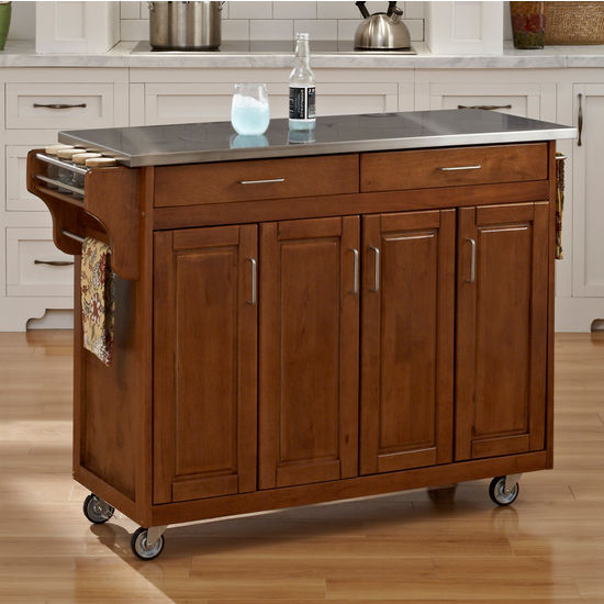 Mix and Match Create-a-Cart w/ Dark Cottage Oak Finish and Stainless Steel Top by Home Styles