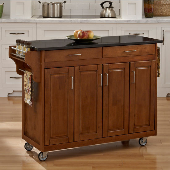 Mix and Match Create-a-Cart w/ Dark Cottage Oak Finish and Black Granite Top by Home Styles