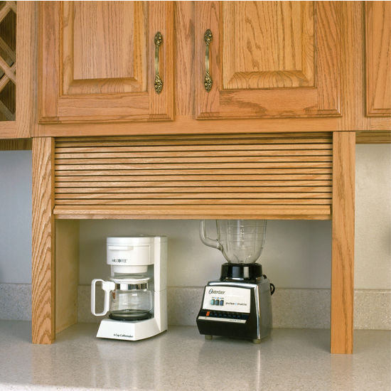 Great Omega National Wood Tambour Kitchen Straight Appliance Garage