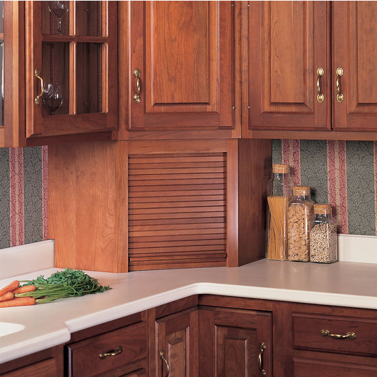 Tambour Corner Wood Kitchen Appliance