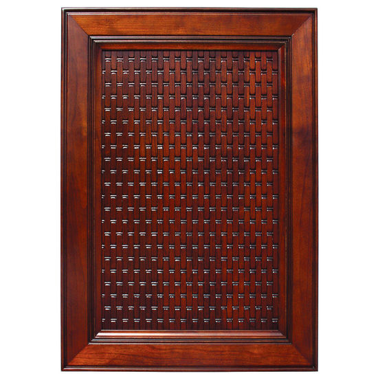 Door Inserts Solid Wood Basketweave Embossed Panel In