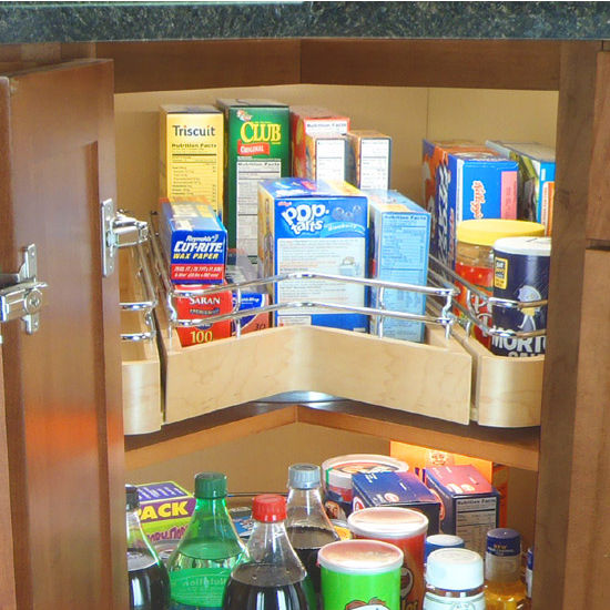 Omega National Easy Access Corner Pantry, Single Shelf Unit with Full Extension Drawer