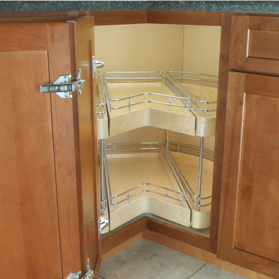 Easy Access Corner Pantry Featuring 360 Degree Double