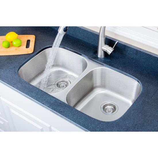 """Wells Sinkware Craftsmen Series Stainless Steel Double Bowl Undermount Sink, 32-1/4"""" W x 18"""" D x 8"""" H"""