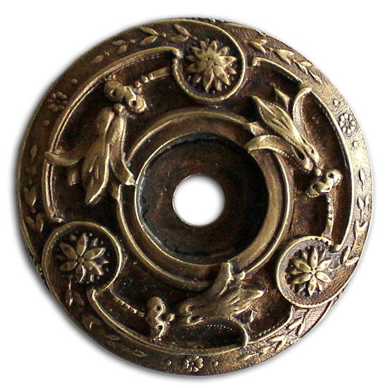 Notting Hill Jewels Collection 1-5/16'' Diameter Jeweled Lily Round Cabinet Backplate in Antique Brass, 1-5/16'' Diameter x 3/16'' D