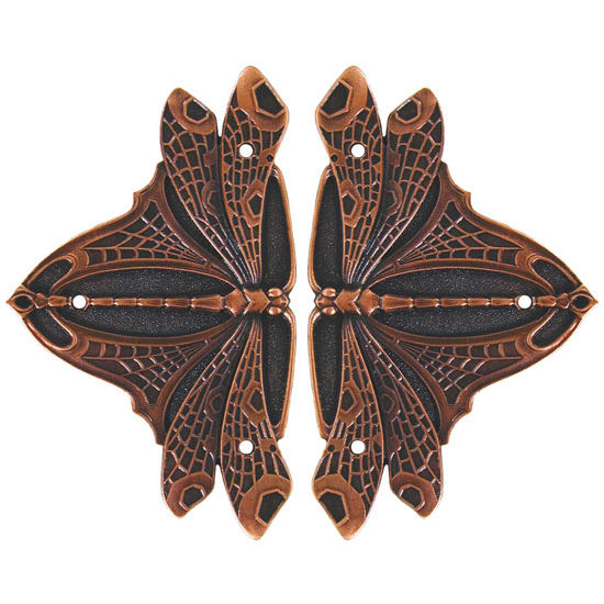 Hinge Plate, Dragonfly, Antique Copper
