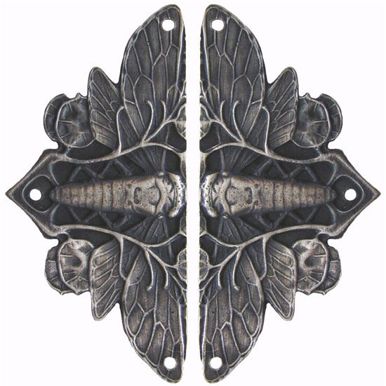 Hinge Plate, Cicada on Leaves, Antique Pewter