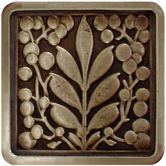 Notting Hill English Garden Collection 1-3/8'' Wide Mountain Ash Square Cabinet Knob in Antique Brass, 1-3/8'' W x 7/8'' D x 1-3/8'' H