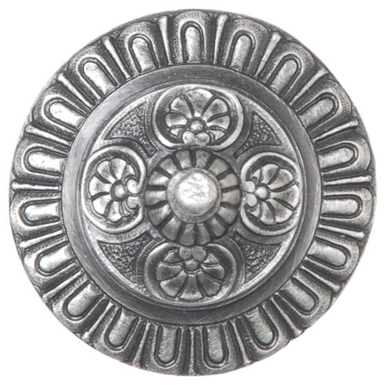 Notting Hill King's Road Collection 1-1/2'' Diameter Kensington Round Cabinet Knob in Antique Pewter, 1-1/2'' Diameter x 1-3/8'' D