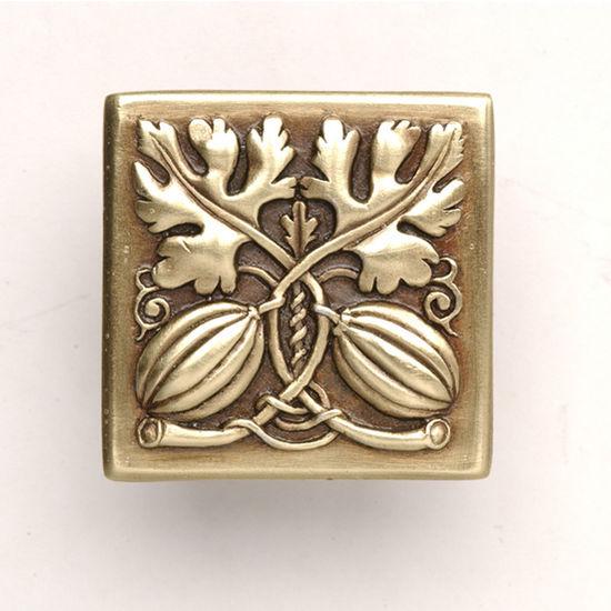 Notting Hill Kitchen Garden Collection 1-1/2'' Wide Autumn Squash Square Cabinet Knob in Antique Brass, 1-1/2'' W x 7/8'' D x 1-1/2'' H