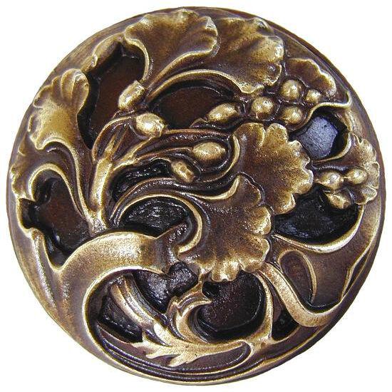 Knob, Florid Leaves, Antique Brass